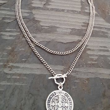 Silver St Benedict Pendant Necklace, Convertible Bracelet Wrap Around, Silver Chain Pendant Necklace, Saint Religious Medal Medallion