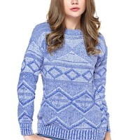 TopStyliShop Women's Stripes and Rhombus Pattern Round Neck Blue Sweater S1025