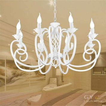 8pc E14 candle White ceiling chandelier lustres wrought iron hanging lights fixture for home kitchen hanglampen nordic staircase