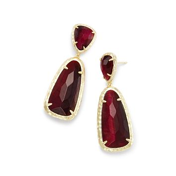 Unique In Style Trendy Earrings Arizona Amber Red Stone Duo Drop Earrings in 14K Gold