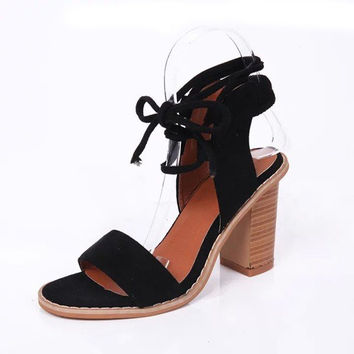 Suede Strappy Peep Toe European Style Chunky Heel Lace Up Sandals