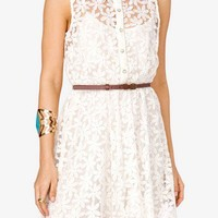 Belted Floral Lace Dress