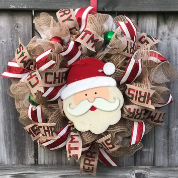 Rustic SANTA Christmas Mesh Outdoor Front Door Wreath; Door Hanger, Red, Burlap