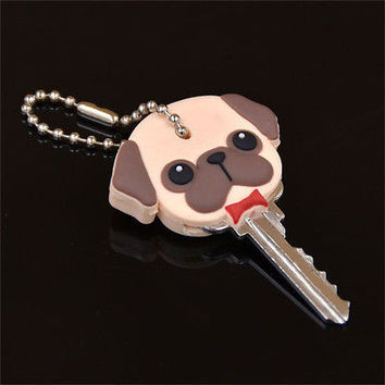 1Pc Silicone Key Ring Cap Head Cover Keychain Case Shell Dog Animal Shape HU