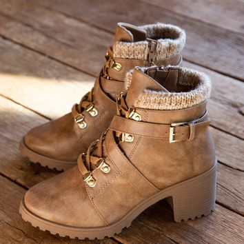 Timothy Lace Up Hiking Bootie w/ Inside Zipper & Chunky Heel, Warm Taupe