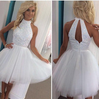 Beaded White  Short Winter Formal Dress