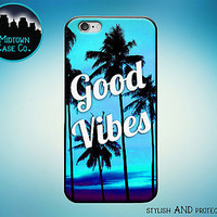 Good Vibes Palm Trees Beach Blue Rubber Case for iPhone 7 6s 6 Plus 5s 5 5c SE