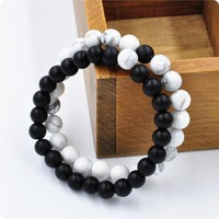 2pcs 8mm Black and White Natural Stone Couple Distance Bracelets for Women Men Strand Bracelets & Bangles Lovers Gifts Jewelry
