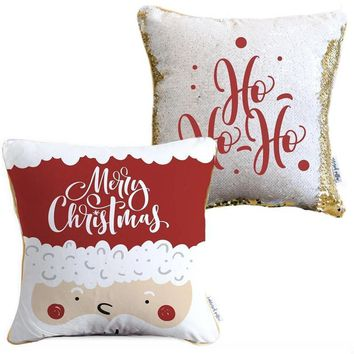 Merry Christmas Holiday Pillow with White & Gold Reversible Sequins | COVER ONLY (Inserts Sold Separately)