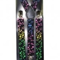 Outer Rebel Multicolored Colorful Musical Notes Suspenders