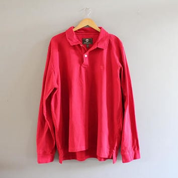 Timberland Polo Shirt Red Cotton Polo Button Up Long Sleeve Oversize Tee Minimalist Vintage 90s Size XXL #T189A