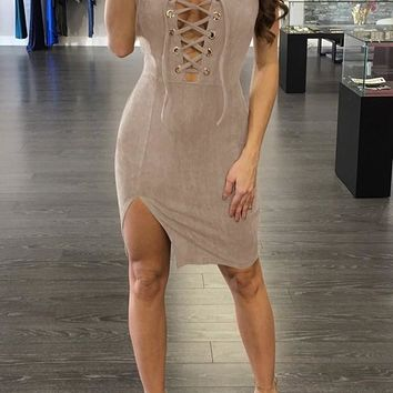 Streetstyle  Casual Drawstring Bandeau Side Slit Plunging Neckline Lace Up Club Party Midi Dress