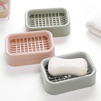 plastic Double Layer Bathroom Soap Dish Case Holder Box Container Case Soap