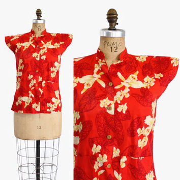 50s Hawaiian TEA TIMER BLOUSE / 1950s Red & Yellow Tropical Print Floral Top