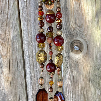 Upcycled Belt Buckle Craft, Repurposed Beaded Mobile, Sun Catcher, Recycled Jewelry Art, Hanging Garden Yard Decor, Wind Chime, Window Decor