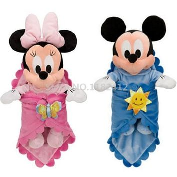 Swaddle Baby Minnie Mickey Plush Toy Stuffed Animals Cute Saliva Towel Appease Newborn Baby Toys for Children Kids Gifts