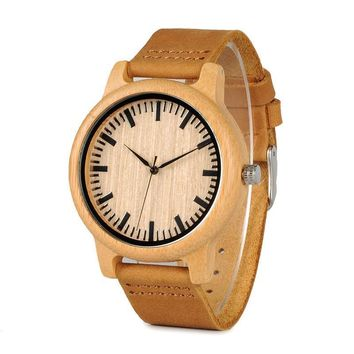 Bamboo Wood Quartz Leather Watch