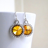 Bridal Earrings Swarovski Yellow Topaz Rivoli Sterling Silver Bridesmaids Jewelry Wedding Jewelry