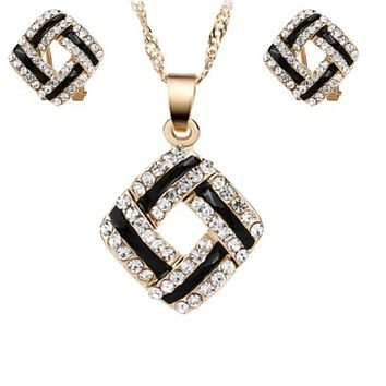 Black and Clear Crystal Diamond Necklace and Earrings Set