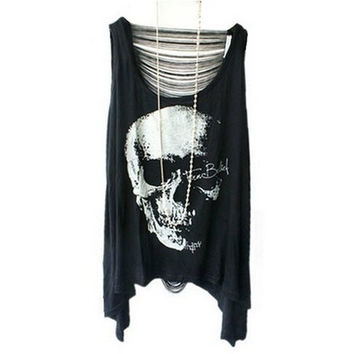 Fashion Hot-Selling Brand New Punk Style Skeleton Print T-shirts with Sexy Fringe Back #lcmq = 5617152321