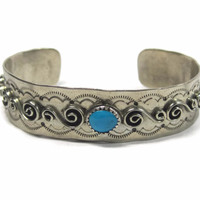 Vintage Navajo Turquoise Cuff Bracelet Sterling Johnny Johnson 7 Inches