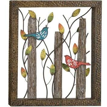 Birds Rustic Metal and Wood Indoor Outdoor Wall Art Sculpture