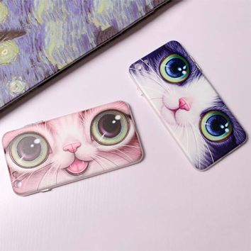 Cute Cartoon 3D Relief Animal Cat Eyes Phone Cases For iphone 7 6 6s Plus Case High Quality Durable Soft TPU Silicone Back Cover