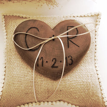 Rustic wedding ring bearer burlap pillow wooden heart country weddings