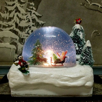 Vintage Christmas tree Santa lighted snow globe dome luminous Holidays home decor shabby Santa Claus