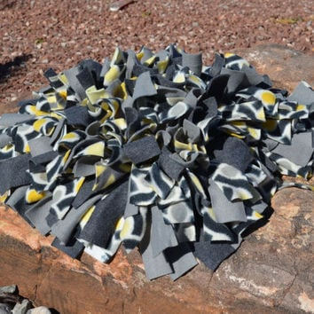 Snuffle Mat, Yellow and Grey Fleece Dog Enrichment Activity