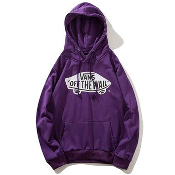 VANS Autumn Winter Classic Fashionable Women Men Casual Print Long Sleeve Hoodie Sweater Pullover Top Sweatshirt Purple