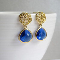 Gold Rose with Blue Teardrop Ear Post Earrings. Modern Everyday Wear. Blue Wedding Jewelry, Bridal Bridesmaid Gift