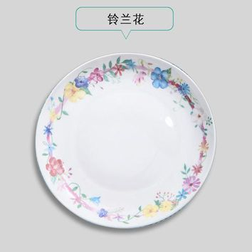 ICIK272 Creative Cartoon Animal Ceramic Plate Dish 8 inches Bone China Porcelain Round Flat Dinning Lunch Plate