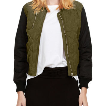 LE3NO Womens Color Contrast Quilted Bomber Jacket with Pockets