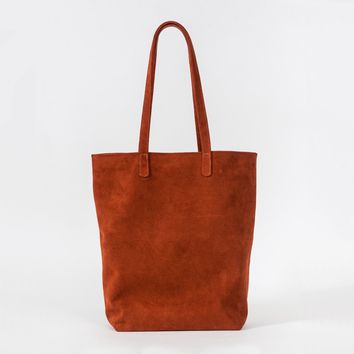 BAGGU Leather Basic Tote Rust Suede