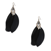 Feather Pendant Earrings Black Exaggerated Jewelry