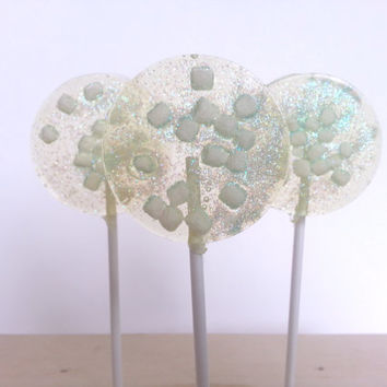 Marshmallow Lollipops, Hard Candy Lollipops, Party Favors, Candy, Sparkly Candy, Sweet Caroline Confections-SIX  LOLLIPOPS