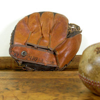 Vintage Baseball Glove and Leather Baseball, Vintage Catchers Mitt, 1940s, 1950s, Winfield, Crandall Model