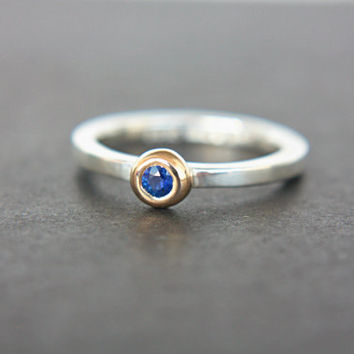 Blue Sapphire Ring 14k Yellow Gold Sterling Silver Sapphire Engagement Ring Ceylon Sapphire Dainty Ring September Birthstone Ring Stacking