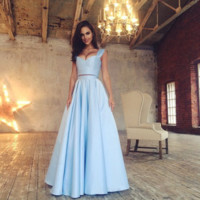 Light Blue Two Piece Straps Prom Dresses,Prom Dress