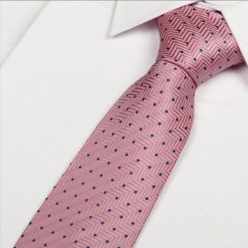 hot pink and Blue polka dot tie 8cm gravatas 2014 new arrival gentlemen neckties fashion casual	ties for men free shipping
