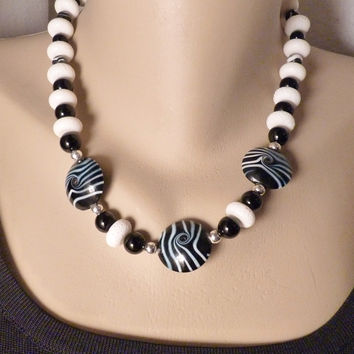 Black & White Zebra Lampwork Bead and Sterling Necklace