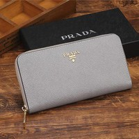 THE PRADA Zipper bag Women Leather Purse Wallet