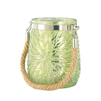 Glass And rope Green Flower Candle Holder