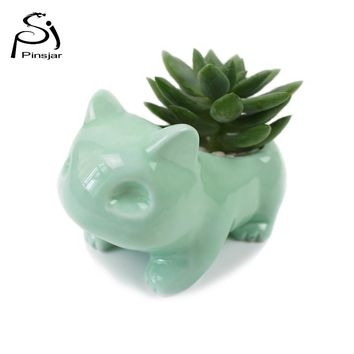 Kawaii Pokemon Ceramic Flowerpot Bulbasaur Planter Cute White Green Succulent Plants Flower Pot With Hole Cute Dropshipping