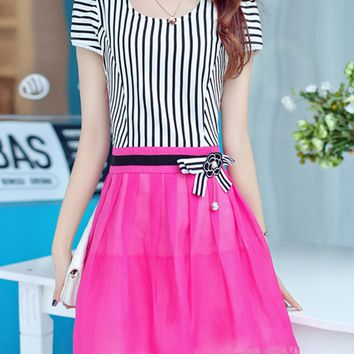 Casual Exquisite Bowknot Patchwork Striped Round Neck Skater Dress