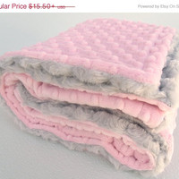 ON SALE Light Pink and Silver Gray Minky Baby Blanket - for girl, toddler or teen
