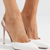Francesco Russo - PVC-trimmed patent-leather slingback pumps