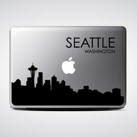 Seattle Skyline Macbook Decal #4 / Macbook Sticker / Laptop Decal