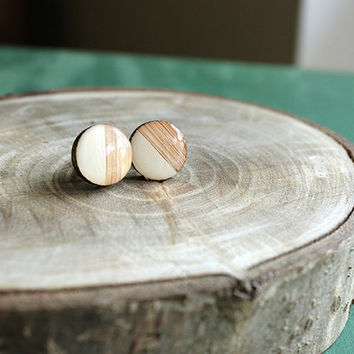 White wood post earrings, wood stud earrings, white circle earrings, half circle earrings, resin earrings